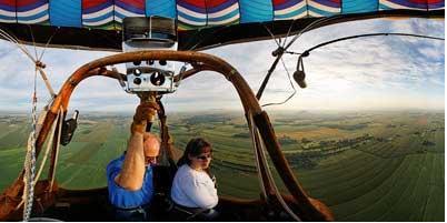 Morning hot air balloon flight