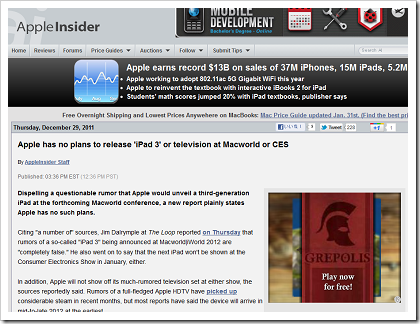 Apple has no plans to release 'iPad 3' or television at Macworld or CES
