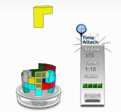 3D型テトリス「TORUS」ゲーム画面