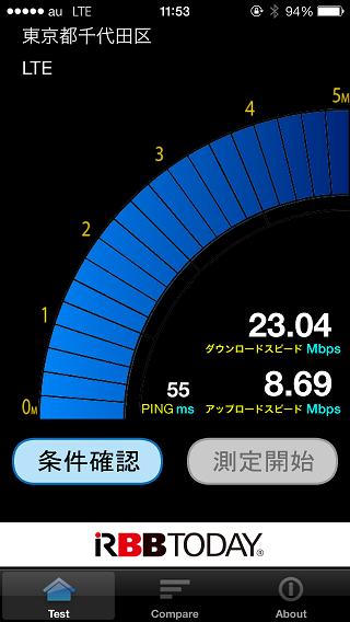 au版iPhone 5sの通信速度テスト