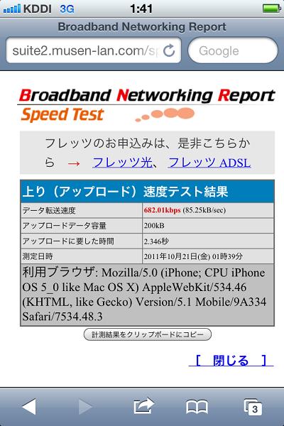 au iPhone 4S スピードテスト
