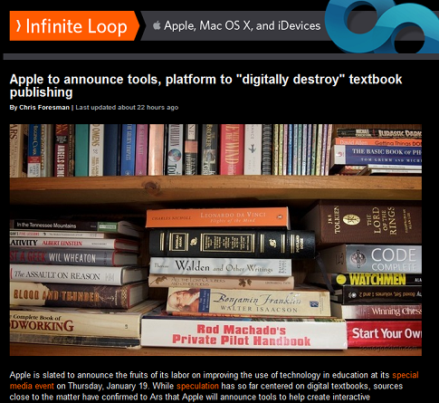 "Apple to announce tools, platform to ""digitally destroy"" textbook publishing"