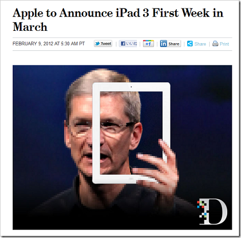 Apple to Announce iPad 3 First Week in March