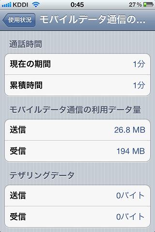 auのiPhone 4Sはテザリング