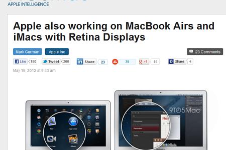 【アップル瓦版】「MacBook Air」と「iMac」もRetinaディスプレイを搭載?