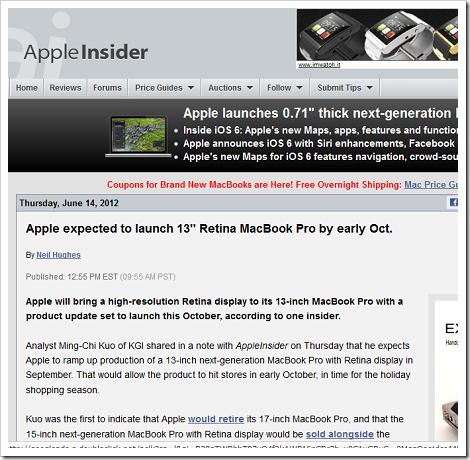 13インチの「MacBook Pro Retinaモデル」
