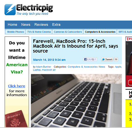 MacBook Airで新たに15インチモデルが4月に発売?