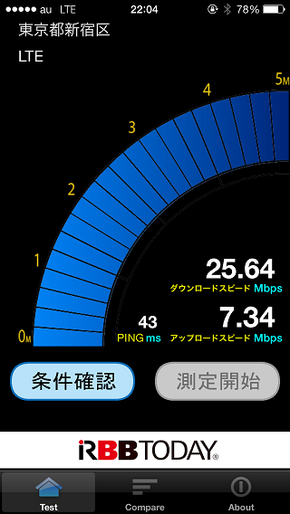 au版iPhone 5sでの通信速度計測メモ