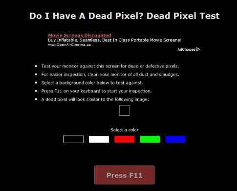液晶モニターのドット抜けを確認することができる『Do I Have A Dead Pixel?』