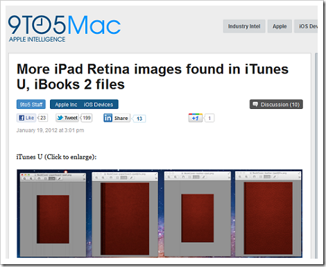 「iBooks 2」のコードから「iPad 3」はやはりRetina Display搭載?