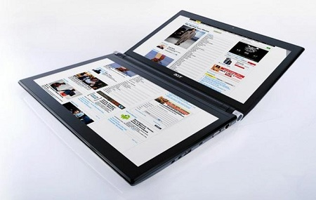 近未来を感じさせるAcerの2画面デュアルタッチスクリーンノートPC「ICONIA」が日本でも発売!