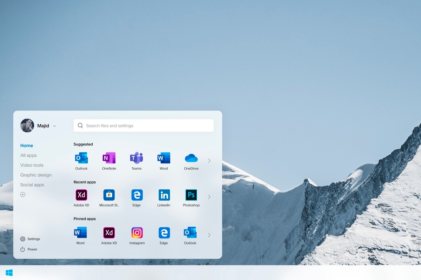 Windows Lite用スタートメニューのコンセプトデザイン
