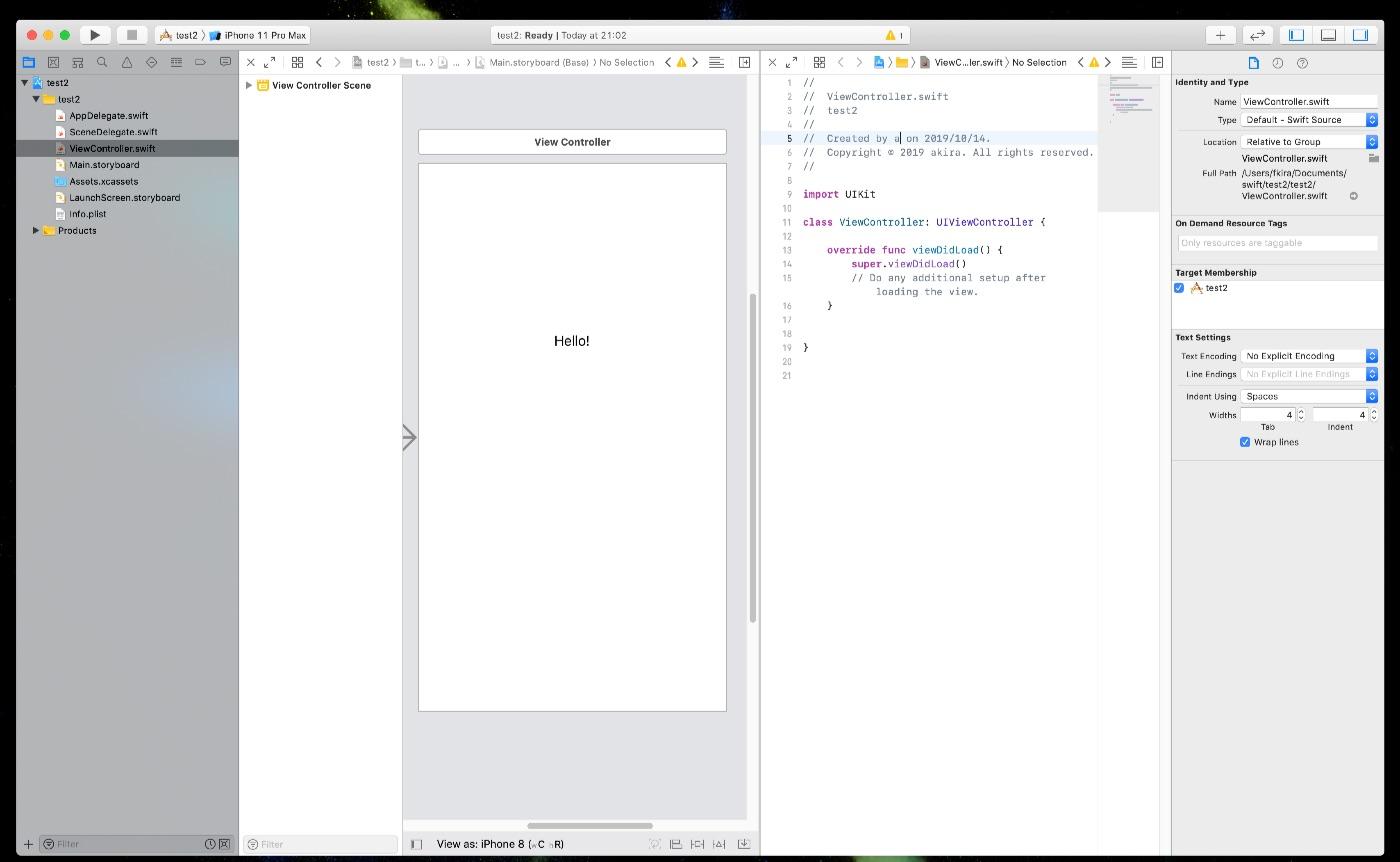 Xcode 11 アシスタントエディタの表示