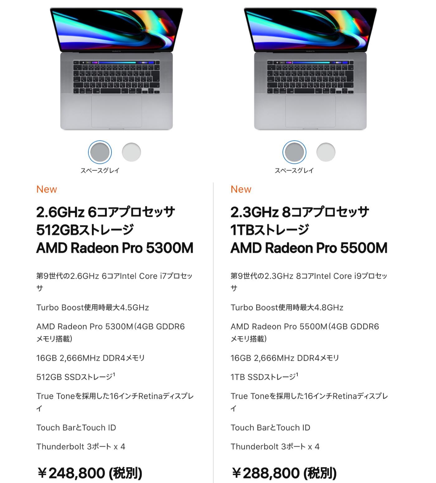 16インチMacBook Proの価格と発売日