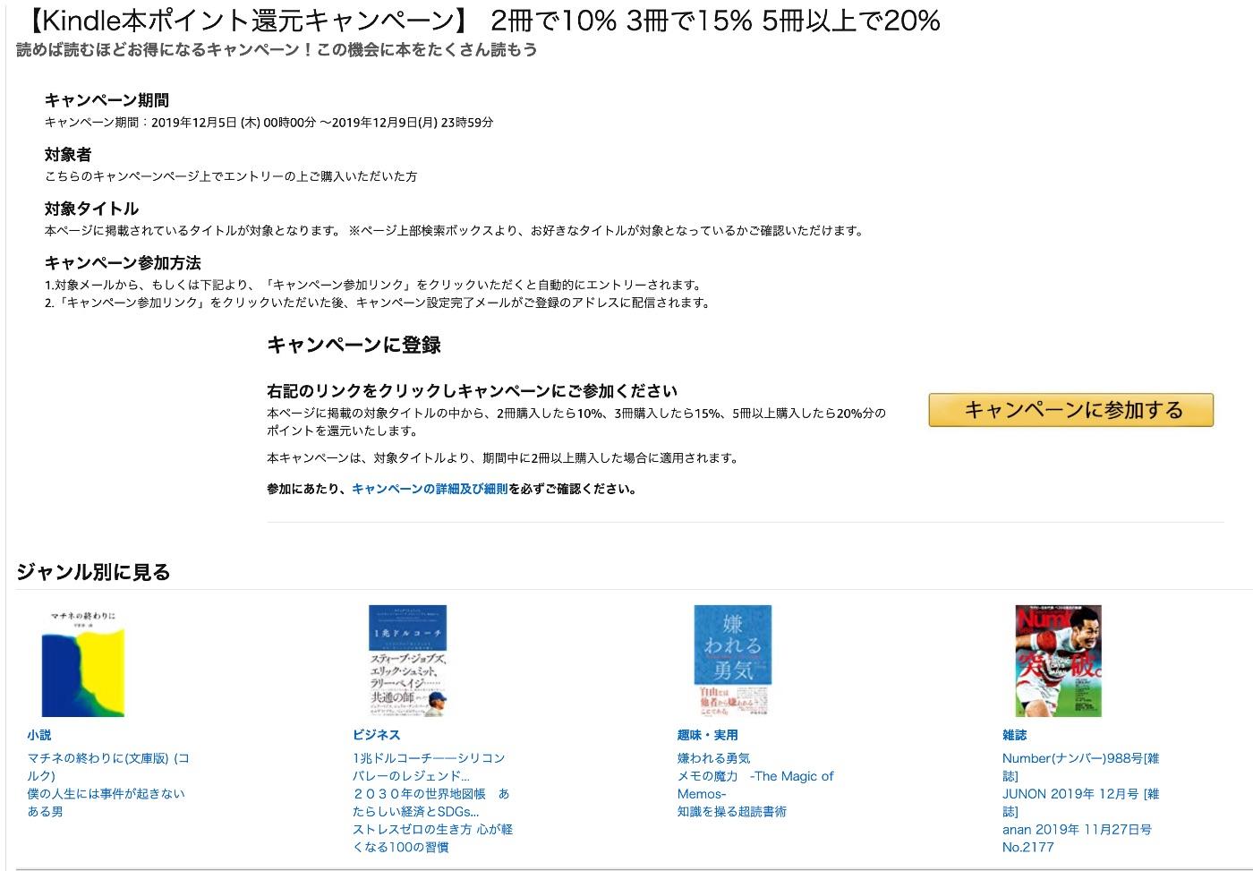 【Kindle本ポイント還元キャンペーン】 2冊で10% 3冊で15% 5冊以上で20%