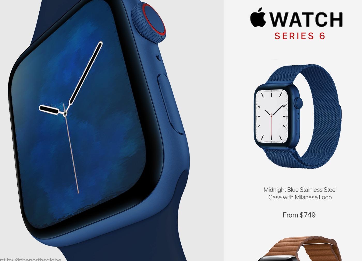 ミッドナイトブルーカラーのApple Watch Series 6のコンセプトデザイン